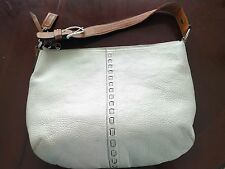 Authentic COACH Soho Leather Hobo Shoulder Handbag White/Brown F13108