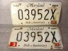 1634-1984 03952X Tags Maryland License Plates 2228918 MD 350th Anniversary