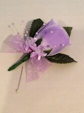 LILAC SILK ROSE BUTTONHOLES - WEDDINGS - ARTIFICIAL SINGLE FLOWER