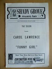 1967 SHADY GROVE MUSIC FAIR Programme: CAROL LAWRENCE in FUNNY GIRL