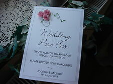 A Personalised Card for Wedding Post Box/Wishing Well - Roses