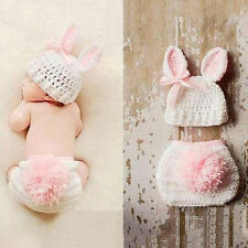 Newborn Baby Girls Crochet Knit Costume Photo Photography Prop Outfits Flower&1