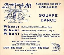 1956 WASHINGTON TOWNSHIP REPUBLICAN CLUB SQUARE DANCE SIGN - INDY, IN  PARKER