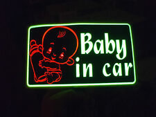 sound Activated LED Flashing LIGHT UP BABY IN CAR Warning SAFETY STICKER SIGN