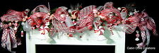 Sweet Treat Mantel Garland Christmas decorated prelit red white Candylan