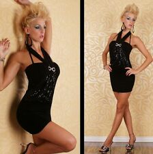 Womens Sequin Embellished Sexy Black Halter Backless Party Mini Dress 8 10 12