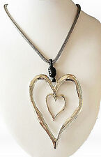 Large abstract metal multi heart pendant and long necklace silver lagenlook