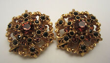 "Rare Vtg 1-1/4"" Signed Florenza Goldtone Amber Black Rhinestone Clip Earrings"
