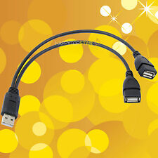 """12"""" USB 2.0 A Male to Dual Double USB A Female Splitter Cable Cord SNYC Charge"""
