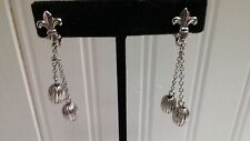 Vintage Silvertone Metal Fleur de Lis Textured Bead Drop Dangle Clip-On Earrings