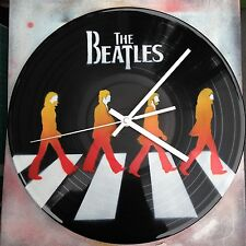 The Beatles Abbey Rd Clock design .Painted records vinyls Handmade stencil work