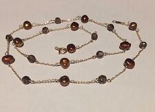 10K YELLOW GOLD FRESH WATER PEARL NECKLACE UNUSUAL COPPER COLOUR***AS NEW***