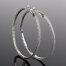 Fashion Womens Large Round Crystal Diamante Rhinestone Hoop Earrings Jewelry