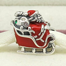 Santa's Sleigh Charm Bead - Sterling Silver - Father Christmas Sledge with Gifts