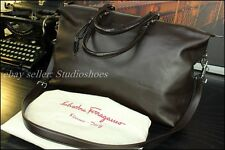 $2200 SALVATORE FERRAGAMO Italy Authentic Leather Duffle Carryall Tote Bag Mens