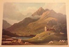 ORIGINAL 1902 'THE STUDIO' WATER-COLOUR PRINT  MOUNTAIN LANDSCAPE  BY G. ROBSON
