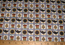 Debbie Mumm Fabric Sunflower Beehive Squares on Blue