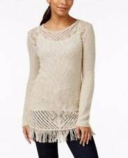 SB3 NWT STYLE&CO. SHEER CROCHET FRINGED LIGHTWEIGHT TUNIC SWEATER TOP XS
