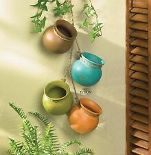 4 pc Hanging Mini HERB POTS Small Terra Cotta Kitchen Planter Pot NEW