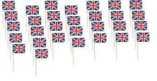 30 Union Jack British Sandwich Party Flag Food Cup Cake Cocktail Sticks Picks BN