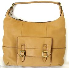NEW FOSSIL TATE LIGHT TAN LEATHER+BUCKLE HOBO,HAND+SHOULDER BAG,PURSE