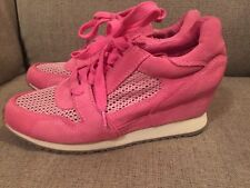Pink Leather Perforated Lace Wedge Cortez Sneaker By Ash Women's Size 8 $250