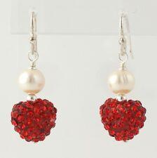 NEW Pearl & Rhinestone Heart Earrings - Sterling Silver Women's Pierced Dangle