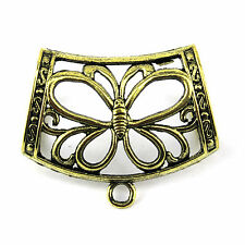 12 pieces/lot antique bronze butterfly diy jewelry scarf pendant slide bails
