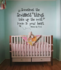 """Sometimes the Smallest Things"" Winnie The Pooh Quote Wall Sticker Bedroom Baby"