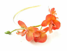 Orange & Silver Orchid Flower Headband Fascinator Vintage Rockabilly Races X-64