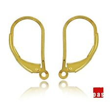14k SOLID GOLD EARRINGS LEVERBACK HOOK 1PAIR  WITH OPEN RING FINDINGS