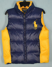 Boys' Ralph Lauren Tryol Navy & Yellow Quilted Down Vest Size Small (8)