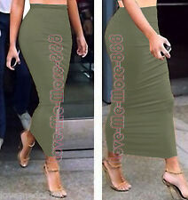 Women Summer Casual Club Celebrity Pencil SLIM Maxi LONG Skirt Dress OLIVE Small