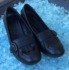 BORN HAND CRAFTED FOOTWEAR WOMEN 6.5 BLACK LEATHER HEELS SLIP ON LOAFERS