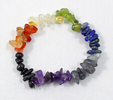 CHAKRA STRETCH BRACELET 7 Stone Chips Beads Type Crystal Healing Wrist Ankle