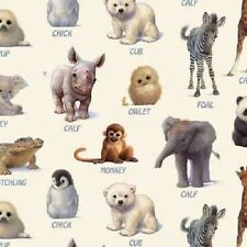 Elizabeth's Studio Animal Friends  7303 CREAM Baby Animals BTY Cotton Fabric