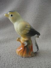 Japan Bird on a Stump Figurine Yellow Bird Vintage