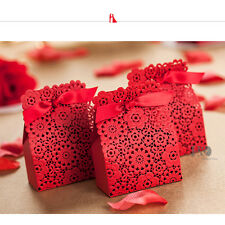 10 Red Rose Laser Cut  Wedding Candy Boxes Party Favors Paper Bags with Ribbon