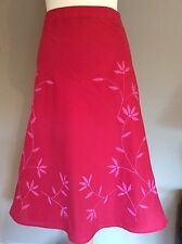 RED MONSOON SKIRT A-LINE PINK FLORAL SIZE 10 COTTON