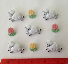 White fluffy sheep and pink yellow flowers Novelty Dress It Up Buttons 5798
