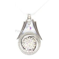 Dangling Rhinestone Silver Tone Snap Charm Pendant Necklace Ginger Snaps 2-2