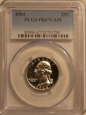 1964 PCGS PR-67 CAM Washington quarter superb GEM proof CAMEO