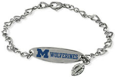 MICHIGAN WOLVERINES * Stainless Steel ID Bracelet w/CZ Dangle * New NCAA Jewelry