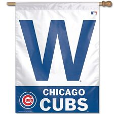 "Chicago Cubs W WIN Authentic 27""x37"" Polyester Indoor/Outdoor Banner Flag MLB"