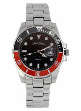 MENS LA BANUS SUBMARINER WATCH STAINLESS STEEL RED & BLACK DIAL DATE QUARTZ