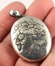 Large antique Victorian HM 1881 sterling silver flower design locket pendant