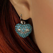 JUICY COUTURE New! SILVER Tone BLUE Beaded HEART Shaped EARRINGS Faux CRYSTAL