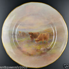 Large Royal Worcester Highland Cattle Hand Painted Porcelain Plate HARRY STINTON