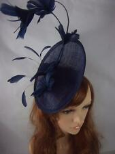 Navy Blue Statement Curve Saucer Fascinator With Feather Flowers - Wedding Races