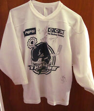 PLYMOUTH WHALERS logo OHL hockey youth lrg jersey autograph CCM Michigan